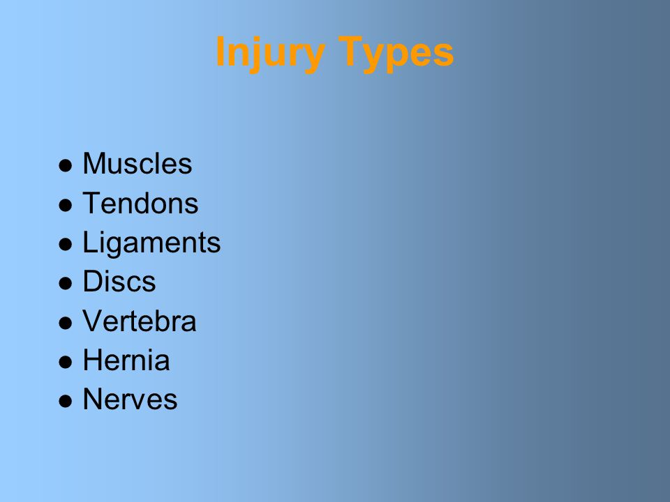 Injury Types Muscles Tendons Ligaments Discs Vertebra Hernia Nerves