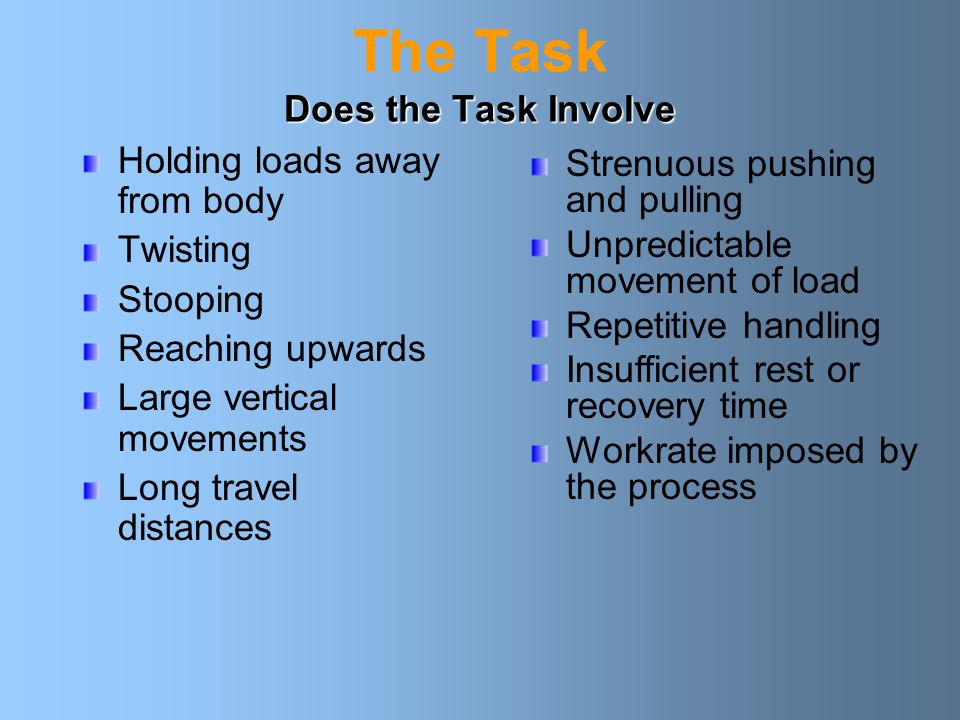 Does the Task Involve The Task Does the Task Involve Holding loads away from body Twisting Stooping Reaching upwards Large vertical movements Long travel distances Strenuous pushing and pulling Unpredictable movement of load Repetitive handling Insufficient rest or recovery time Workrate imposed by the process