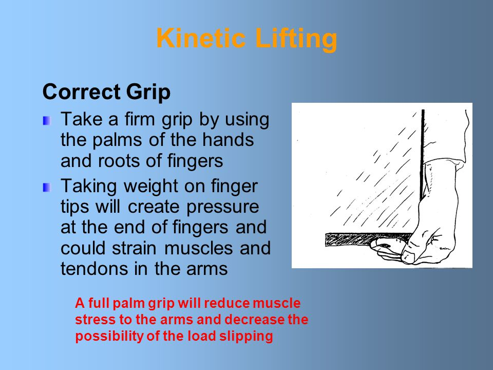 Kinetic Lifting Correct Grip Take a firm grip by using the palms of the hands and roots of fingers Taking weight on finger tips will create pressure at the end of fingers and could strain muscles and tendons in the arms A full palm grip will reduce muscle stress to the arms and decrease the possibility of the load slipping