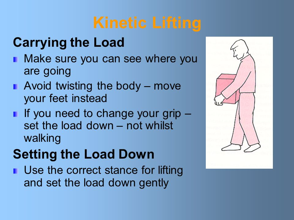 Kinetic Lifting Carrying the Load Make sure you can see where you are going Avoid twisting the body – move your feet instead If you need to change your grip – set the load down – not whilst walking Setting the Load Down Use the correct stance for lifting and set the load down gently