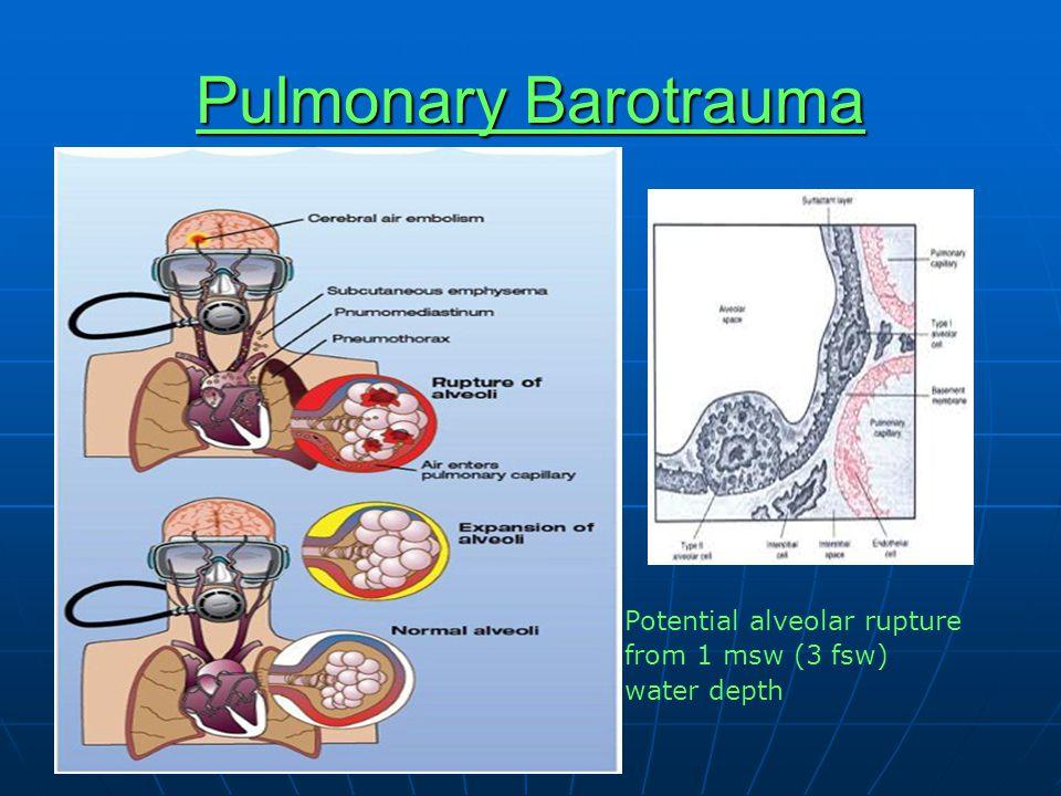 Pulmonary Barotrauma Potential alveolar rupture from 1 msw (3 fsw) water depth