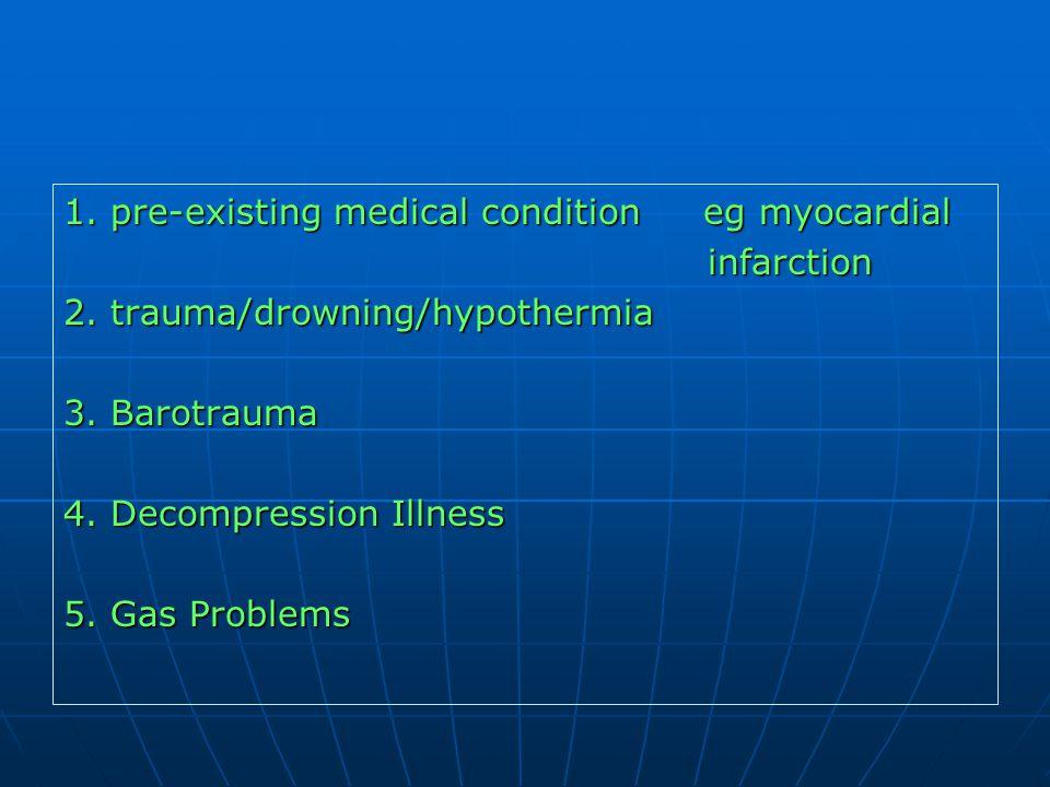 1. pre-existing medical condition eg myocardial infarction infarction 2. trauma/drowning/hypothermia 3. Barotrauma 4. Decompression Illness 5. Gas Pro