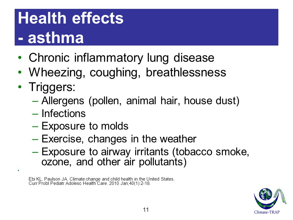 Health effects - asthma Chronic inflammatory lung disease Wheezing, coughing, breathlessness Triggers: –Allergens (pollen, animal hair, house dust) –Infections –Exposure to molds –Exercise, changes in the weather –Exposure to airway irritants (tobacco smoke, ozone, and other air pollutants) Ebi KL, Paulson JA.