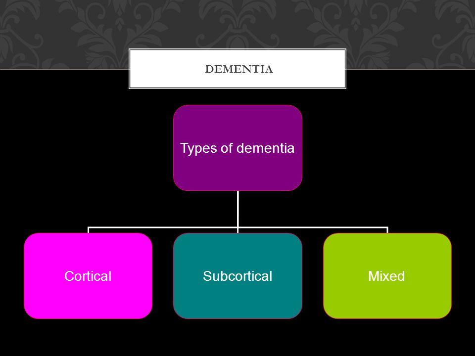 DEMENTIA Types of dementia CorticalSubcorticalMixed