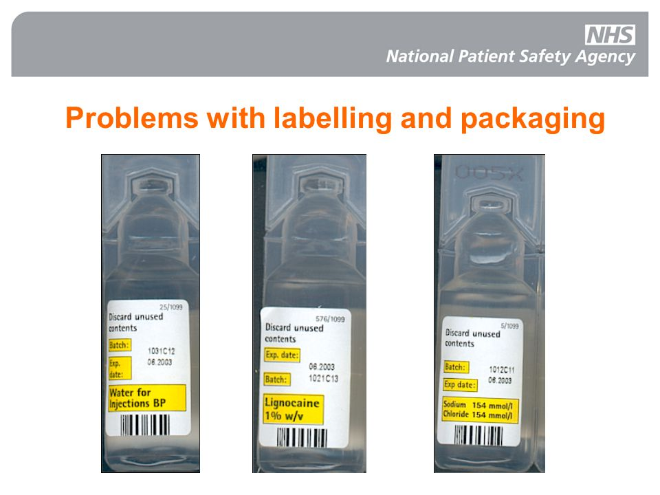 Problems with labelling and packaging