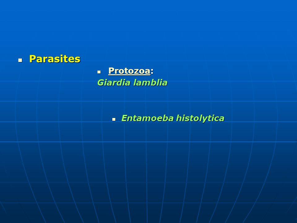 Parasites Parasites Protozoa: Protozoa: Protozoa Giardia lamblia Entamoeba histolytica