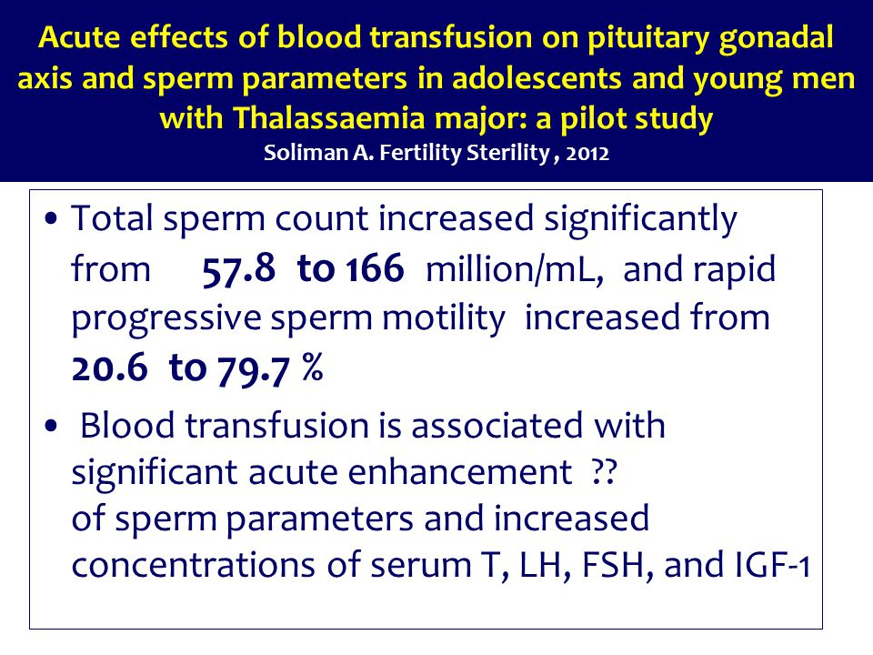 Acute effects of blood transfusion on pituitary gonadal axis and sperm parameters in adolescents and young men with Thalassaemia major: a pilot study Soliman A.