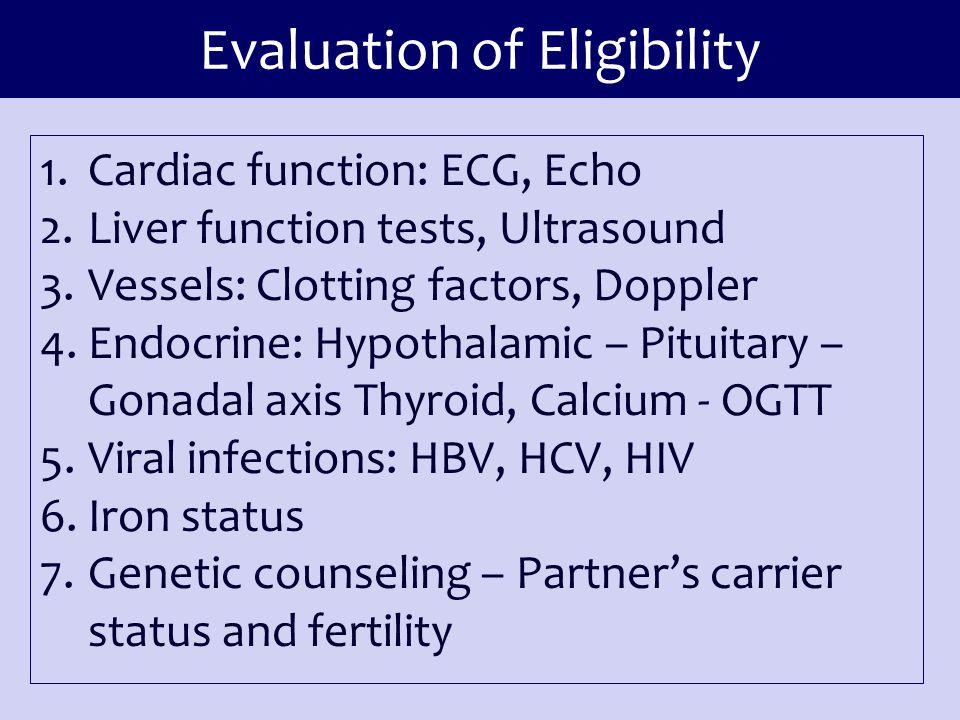 Evaluation of Eligibility 1.Cardiac function: ECG, Echo 2.Liver function tests, Ultrasound 3.Vessels: Clotting factors, Doppler 4.Endocrine: Hypothala