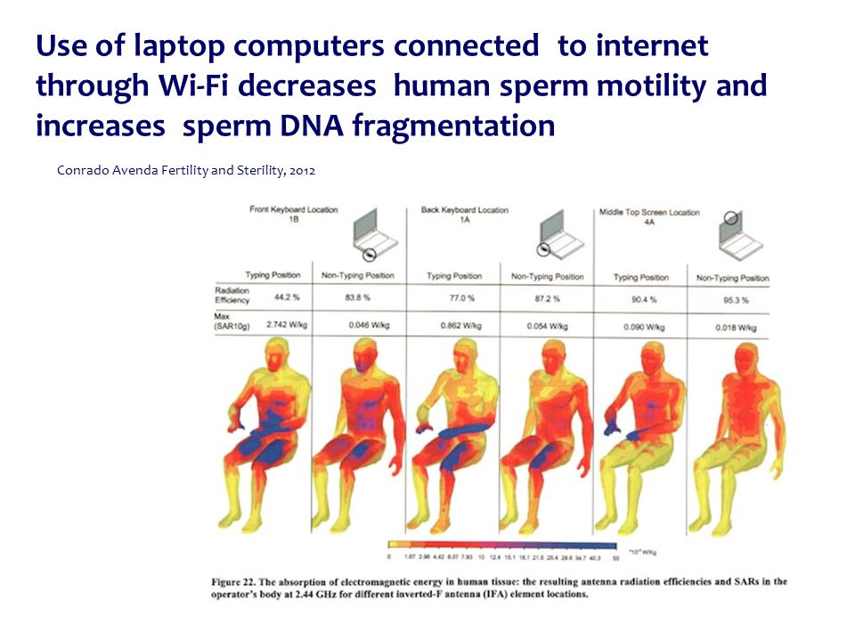 Use of laptop computers connected to internet through Wi-Fi decreases human sperm motility and increases sperm DNA fragmentation Conrado Avenda Fertility and Sterility, 2012