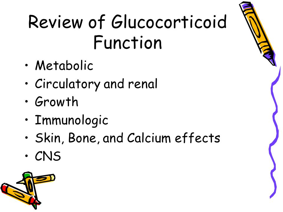 Review of Glucocorticoid Function Metabolic Circulatory and renal Growth Immunologic Skin, Bone, and Calcium effects CNS