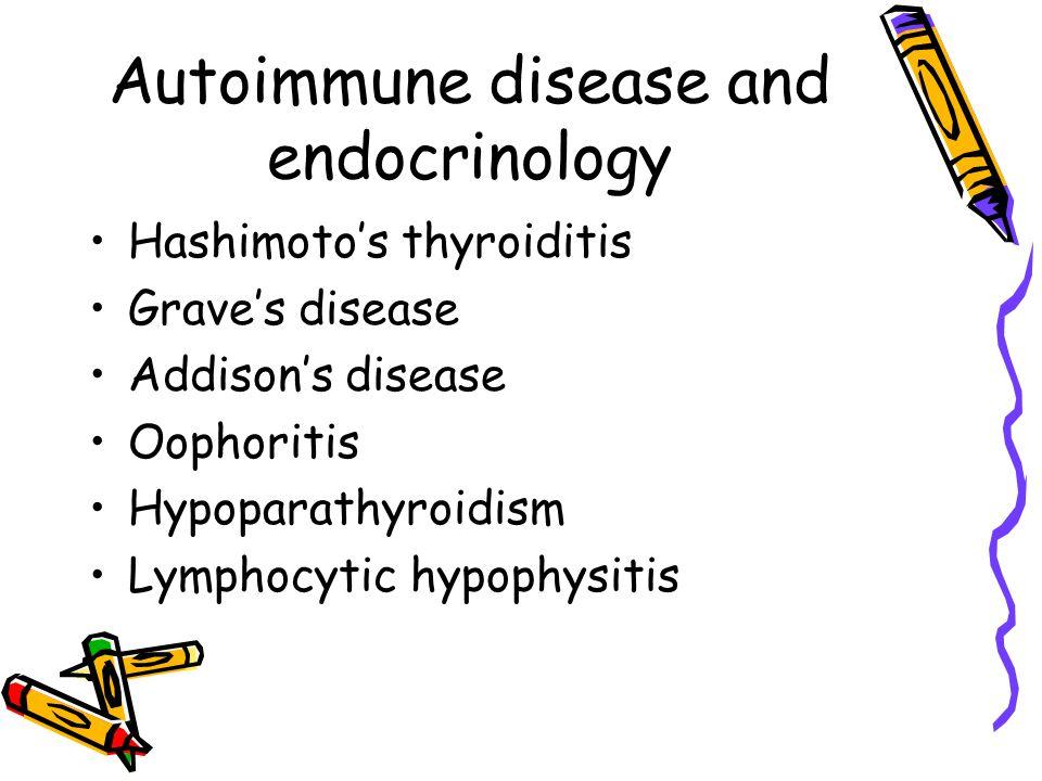 Autoimmune disease and endocrinology Hashimoto's thyroiditis Grave's disease Addison's disease Oophoritis Hypoparathyroidism Lymphocytic hypophysitis