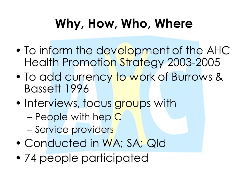 Why, How, Who, Where To inform the development of the AHC Health Promotion Strategy 2003-2005 To add currency to work of Burrows & Bassett 1996 Interv