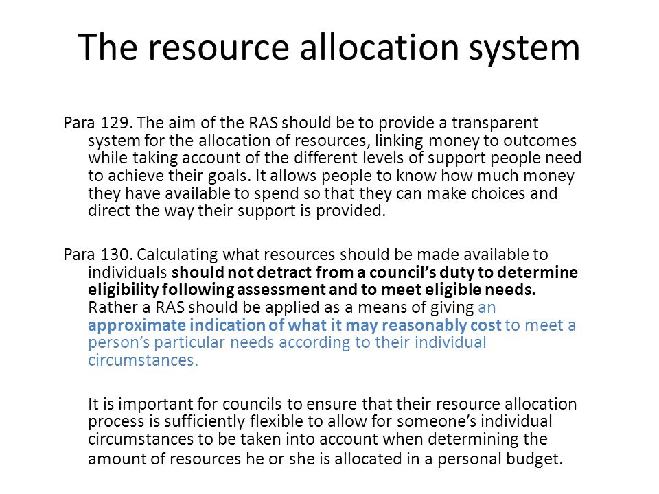 Are the council's inevitable resources difficulties relevant to what's appropriate in the first place.