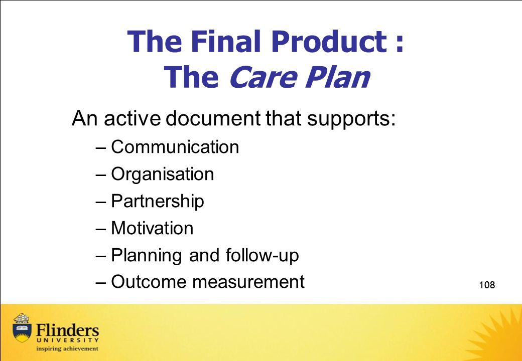 108 The Final Product : The Care Plan An active document that supports: –Communication –Organisation –Partnership –Motivation –Planning and follow-up –Outcome measurement