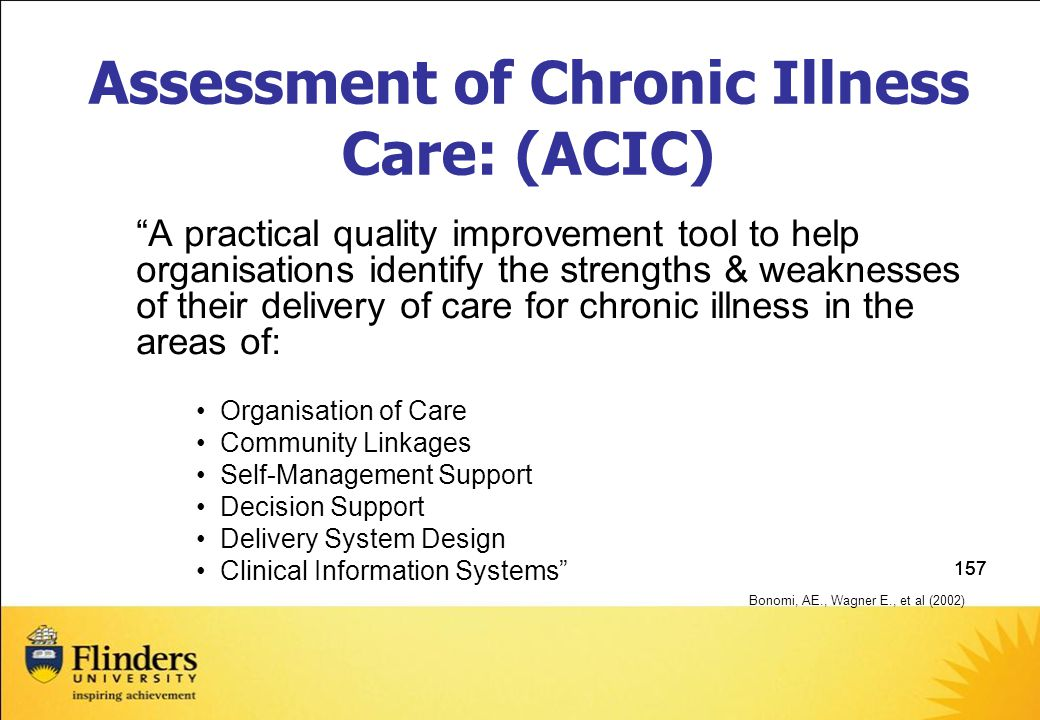157 Assessment of Chronic Illness Care: (ACIC) A practical quality improvement tool to help organisations identify the strengths & weaknesses of their delivery of care for chronic illness in the areas of: Organisation of Care Community Linkages Self-Management Support Decision Support Delivery System Design Clinical Information Systems Bonomi, AE., Wagner E., et al (2002)