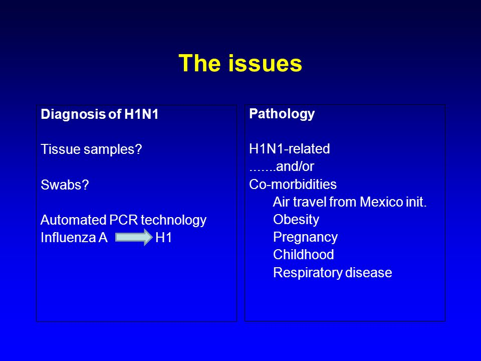 The issues Diagnosis of H1N1 Tissue samples. Swabs.