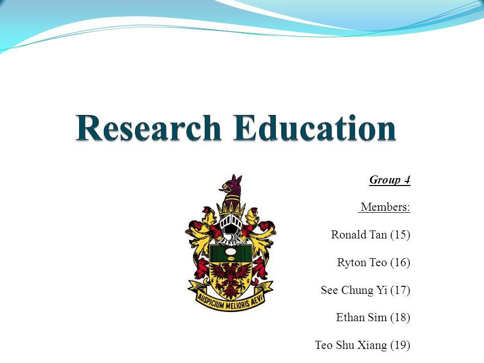 Group 4 Members: Ronald Tan (15) Ryton Teo (16) See Chung Yi (17) Ethan Sim (18) Teo Shu Xiang (19) Group 41T