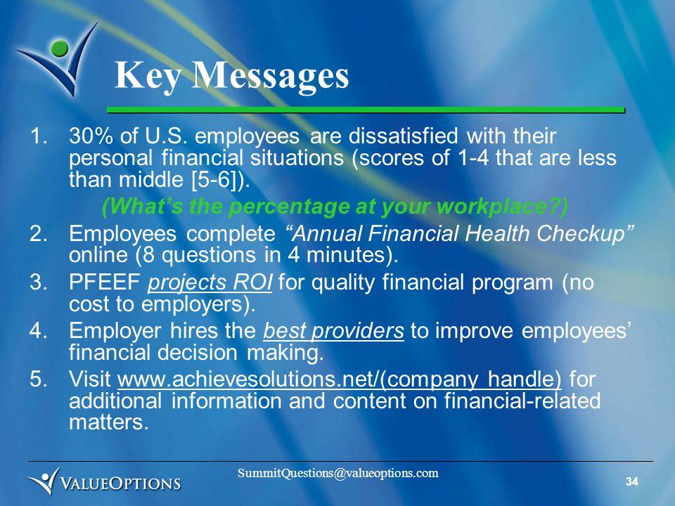 34 SummitQuestions@valueoptions.com Key Messages 1.30% of U.S.