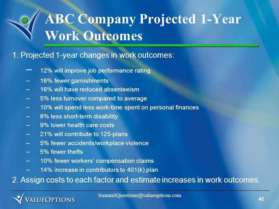 42 SummitQuestions@valueoptions.com ABC Company Projected 1-Year Work Outcomes 1.