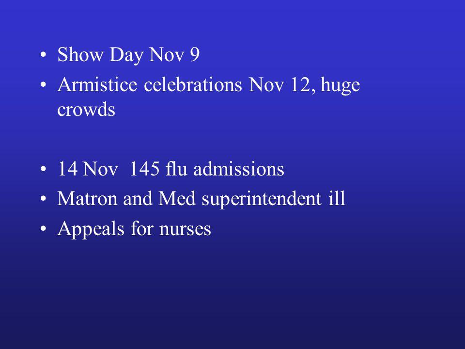 Show Day Nov 9 Armistice celebrations Nov 12, huge crowds 14 Nov 145 flu admissions Matron and Med superintendent ill Appeals for nurses