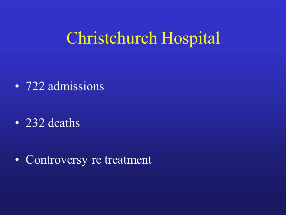 Christchurch Hospital 722 admissions 232 deaths Controversy re treatment