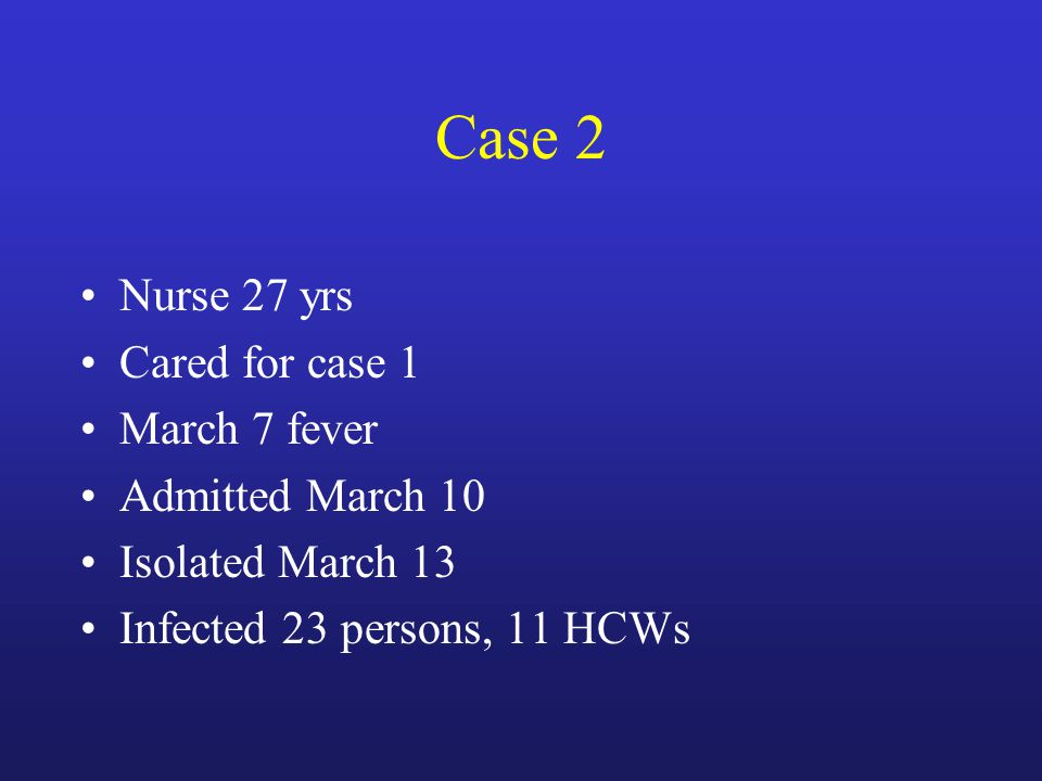 Case 2 Nurse 27 yrs Cared for case 1 March 7 fever Admitted March 10 Isolated March 13 Infected 23 persons, 11 HCWs