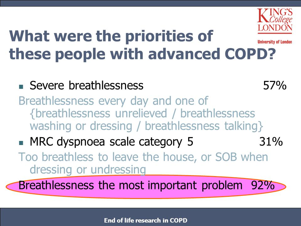 What were the priorities of these people with advanced COPD? Severe breathlessness 57% Breathlessness every day and one of {breathlessness unrelieved