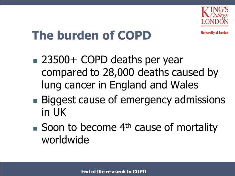 The burden of COPD 23500+ COPD deaths per year compared to 28,000 deaths caused by lung cancer in England and Wales Biggest cause of emergency admissi