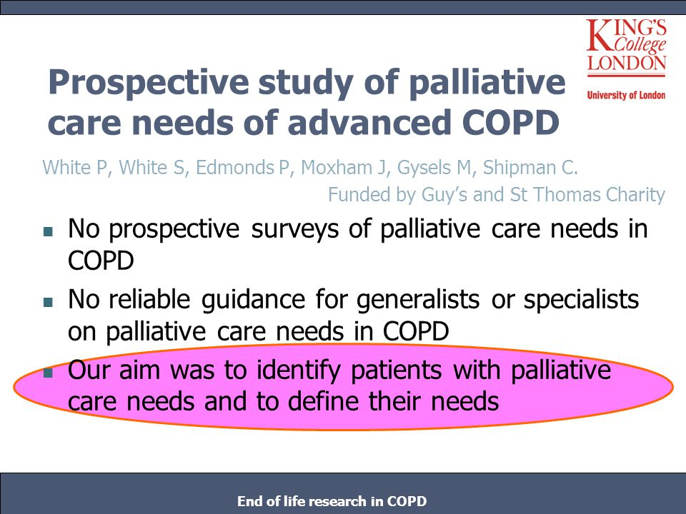 Conclusions Most of these patients with advanced COPD had been admitted with an exacerbation Most felt admission was the right action Most would want admission again if they became unwell to the same extent None expressed existential concerns relating to their stage in life despite severe breathlessness and impairment End of life research in COPD