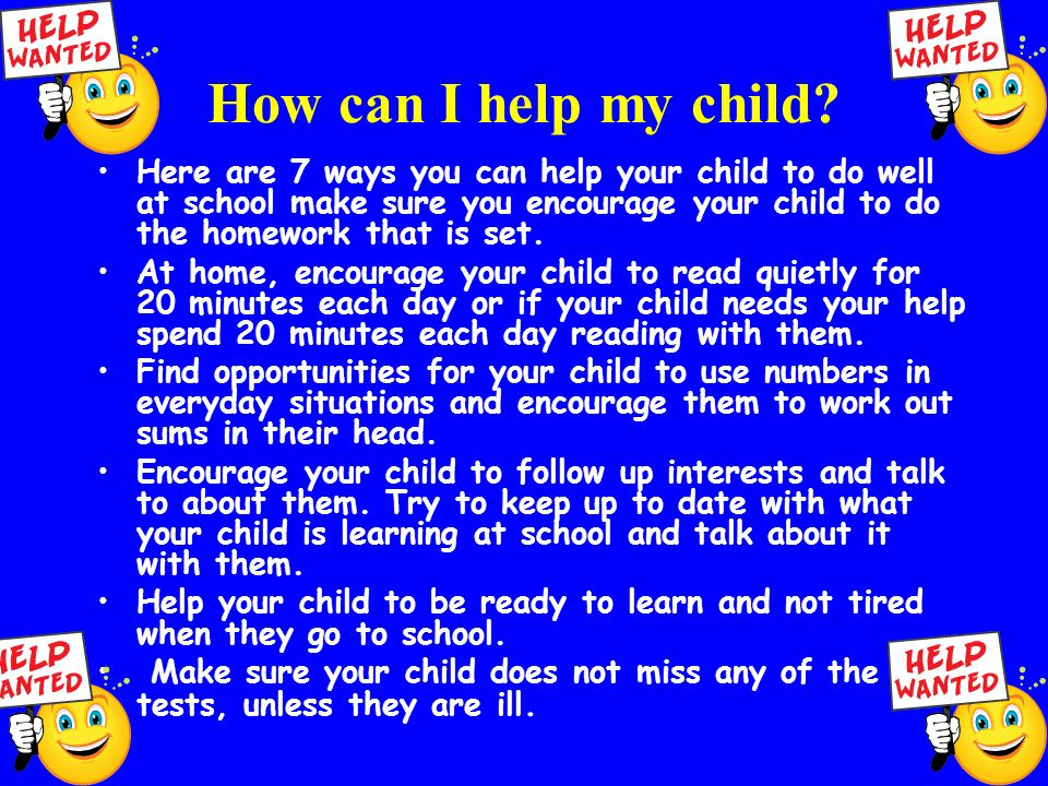 How can I help my child.
