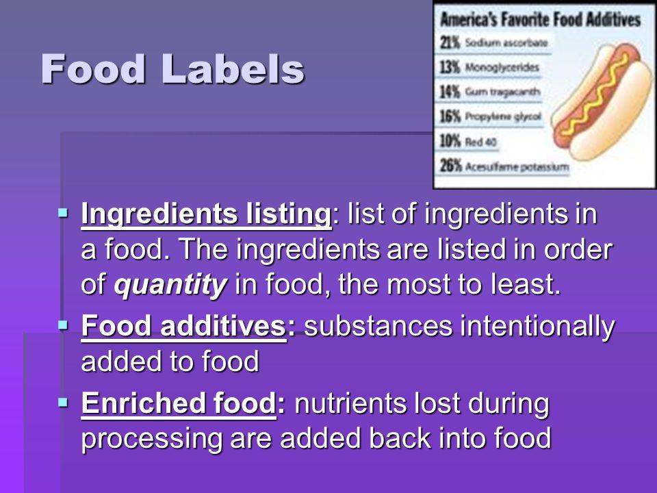 Food Labels  Ingredients listing: list of ingredients in a food.
