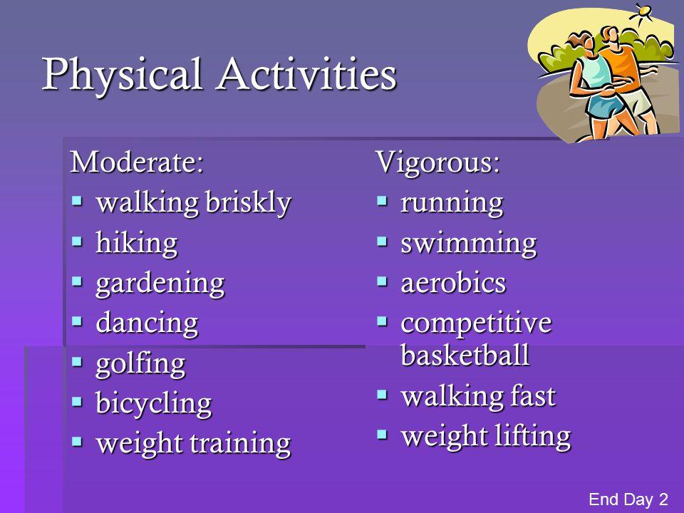 Physical Activities Moderate:  walking briskly  hiking  gardening  dancing  golfing  bicycling  weight training Vigorous:  running  swimming  aerobics  competitive basketball  walking fast  weight lifting End Day 2