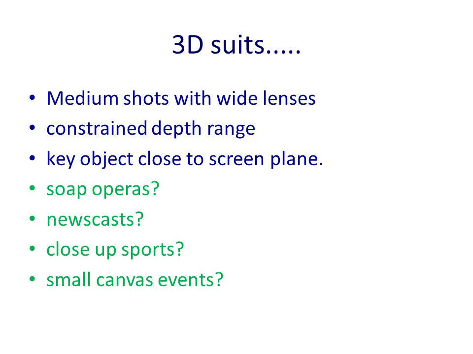 3D suits..... Medium shots with wide lenses constrained depth range key object close to screen plane. soap operas? newscasts? close up sports? small c