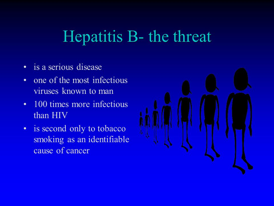 Hepatitis B- the threat is a serious disease one of the most infectious viruses known to man 100 times more infectious than HIV is second only to toba