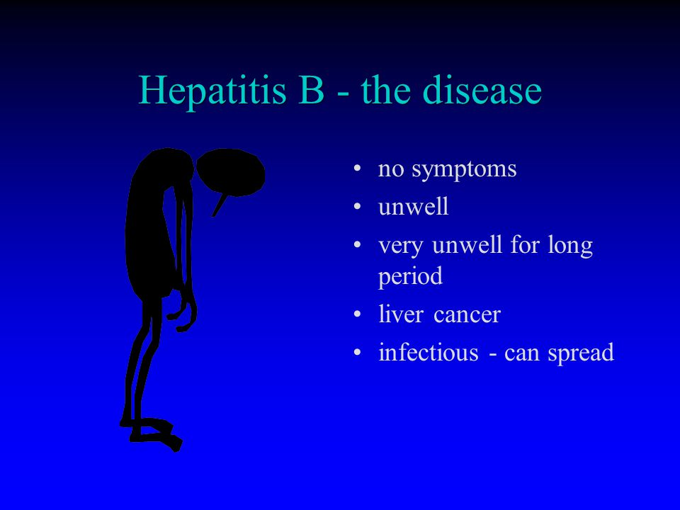 Hepatitis B - the disease no symptoms unwell very unwell for long period liver cancer infectious - can spread