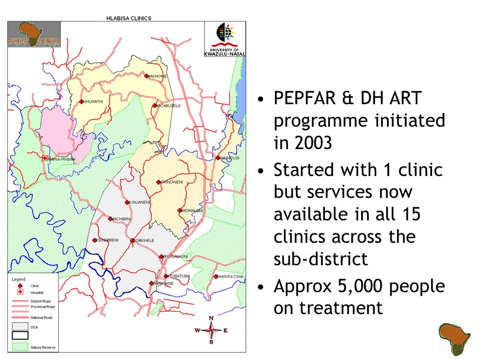 PEPFAR & DH ART programme initiated in 2003 Started with 1 clinic but services now available in all 15 clinics across the sub-district Approx 5,000 pe