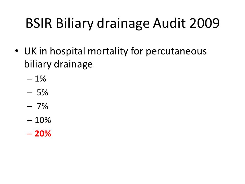 BSIR Biliary drainage Audit 2009 UK in hospital mortality for percutaneous biliary drainage – 1% – 5% – 7% – 10% – 20%