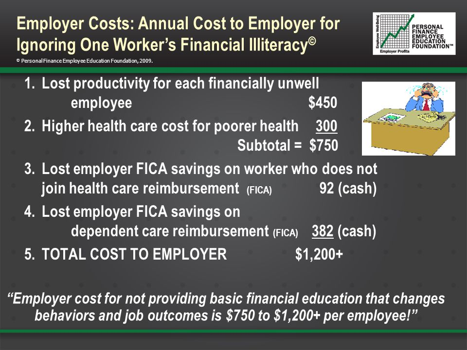 1.Lost productivity for each financially unwell employee $450 2.Higher health care cost for poorer health 300 Subtotal = $750 3.Lost employer FICA savings on worker who does not join health care reimbursement (FICA) 92 (cash) 4.Lost employer FICA savings on dependent care reimbursement (FICA) 382 (cash) 5.TOTAL COST TO EMPLOYER $1,200+ © Personal Finance Employee Education Foundation, 2009.