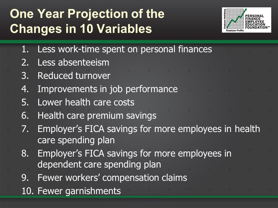 One Year Projection of the Changes in 10 Variables 1.Less work-time spent on personal finances 2.Less absenteeism 3.Reduced turnover 4.Improvements in job performance 5.Lower health care costs 6.Health care premium savings 7.Employer's FICA savings for more employees in health care spending plan 8.Employer's FICA savings for more employees in dependent care spending plan 9.Fewer workers' compensation claims 10.Fewer garnishments