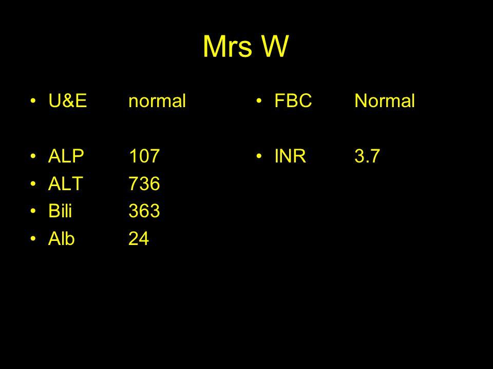 Mrs W U&Enormal ALP107 ALT736 Bili 363 Alb 24 FBC Normal INR3.7