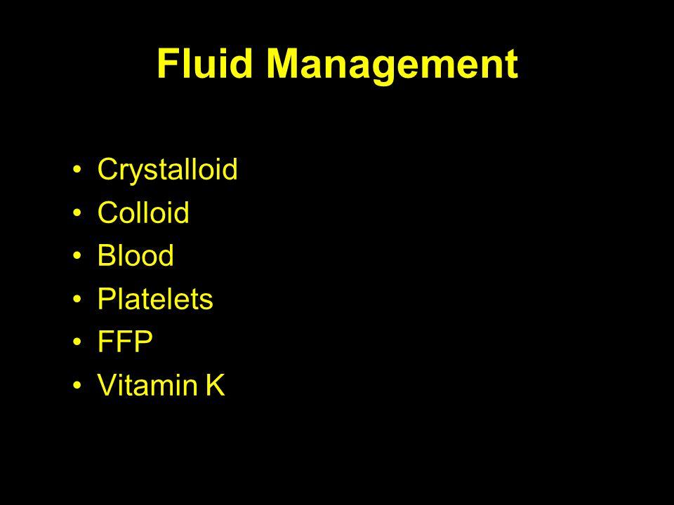 Fluid Management Crystalloid Colloid Blood Platelets FFP Vitamin K