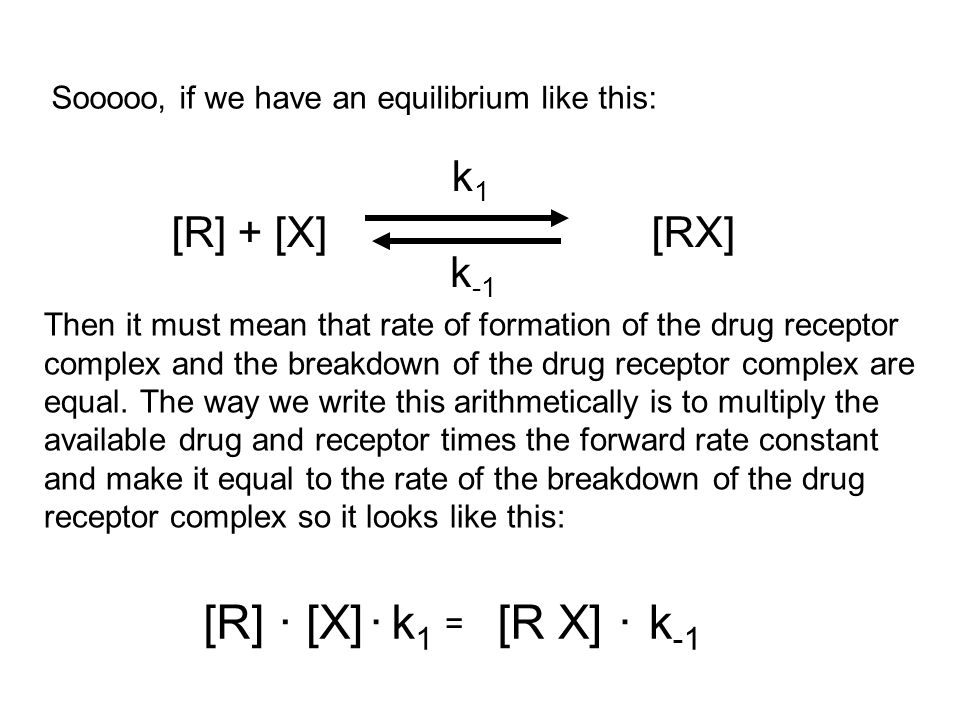 [R][X][RX]k1k1 k -1... = [R] + [X] [RX] k1k1 k -1 Sooooo, if we have an equilibrium like this: Then it must mean that rate of formation of the drug re