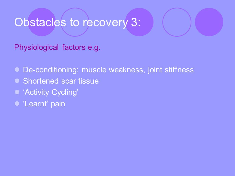 Obstacles to recovery 3: Physiological factors e.g.