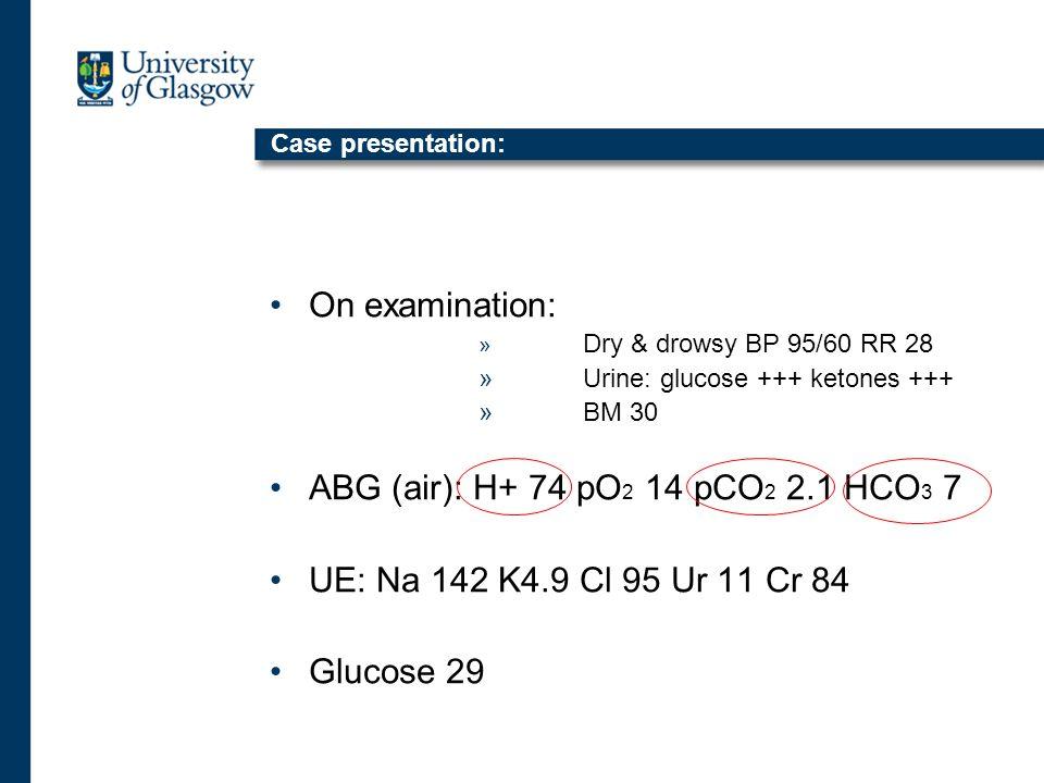Case presentation: On examination: » Dry & drowsy BP 95/60 RR 28 »Urine: glucose +++ ketones +++ »BM 30 ABG (air): H+ 74 pO 2 14 pCO 2 2.1 HCO 3 7 UE: Na 142 K4.9 Cl 95 Ur 11 Cr 84 Glucose 29