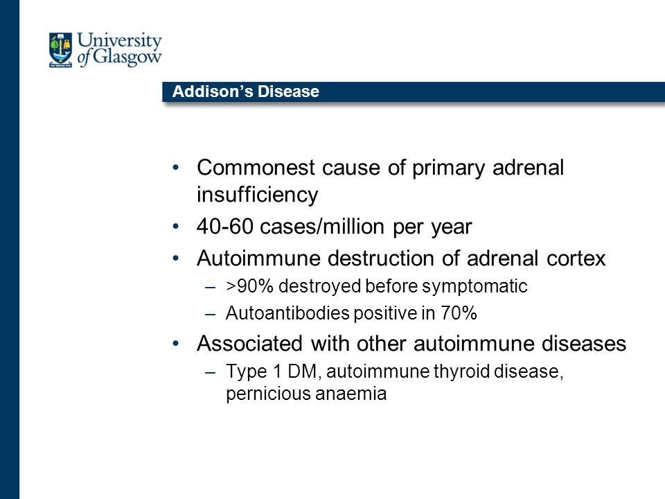 Addison's Disease Commonest cause of primary adrenal insufficiency 40-60 cases/million per year Autoimmune destruction of adrenal cortex –>90% destroyed before symptomatic –Autoantibodies positive in 70% Associated with other autoimmune diseases –Type 1 DM, autoimmune thyroid disease, pernicious anaemia