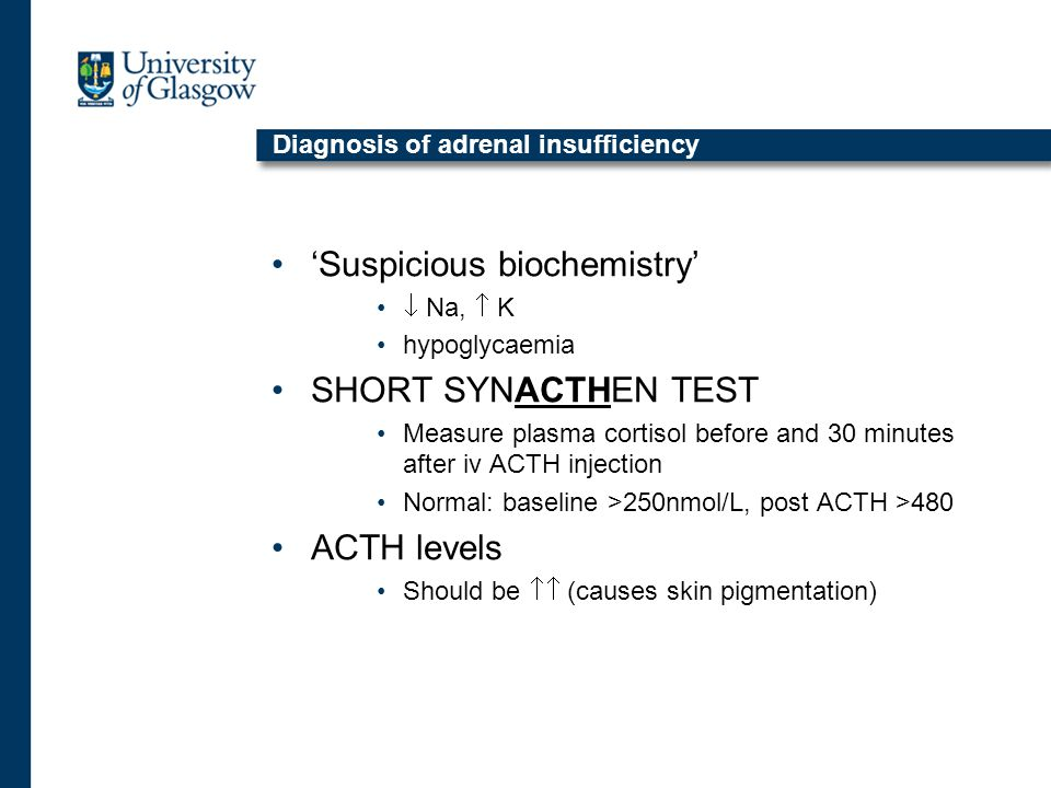 Diagnosis of adrenal insufficiency 'Suspicious biochemistry'  Na,  K hypoglycaemia SHORT SYNACTHEN TEST Measure plasma cortisol before and 30 minutes after iv ACTH injection Normal: baseline >250nmol/L, post ACTH >480 ACTH levels Should be  (causes skin pigmentation)