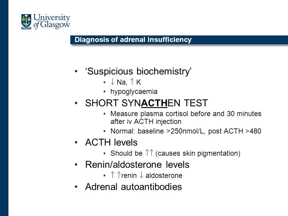 Diagnosis of adrenal insufficiency 'Suspicious biochemistry'  Na,  K hypoglycaemia SHORT SYNACTHEN TEST Measure plasma cortisol before and 30 minutes after iv ACTH injection Normal: baseline >250nmol/L, post ACTH >480 ACTH levels Should be  (causes skin pigmentation) Renin/aldosterone levels   renin  aldosterone Adrenal autoantibodies
