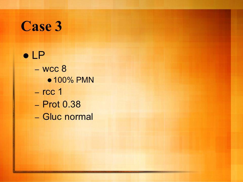 Case 3 LP – wcc 8 100% PMN – rcc 1 – Prot 0.38 – Gluc normal