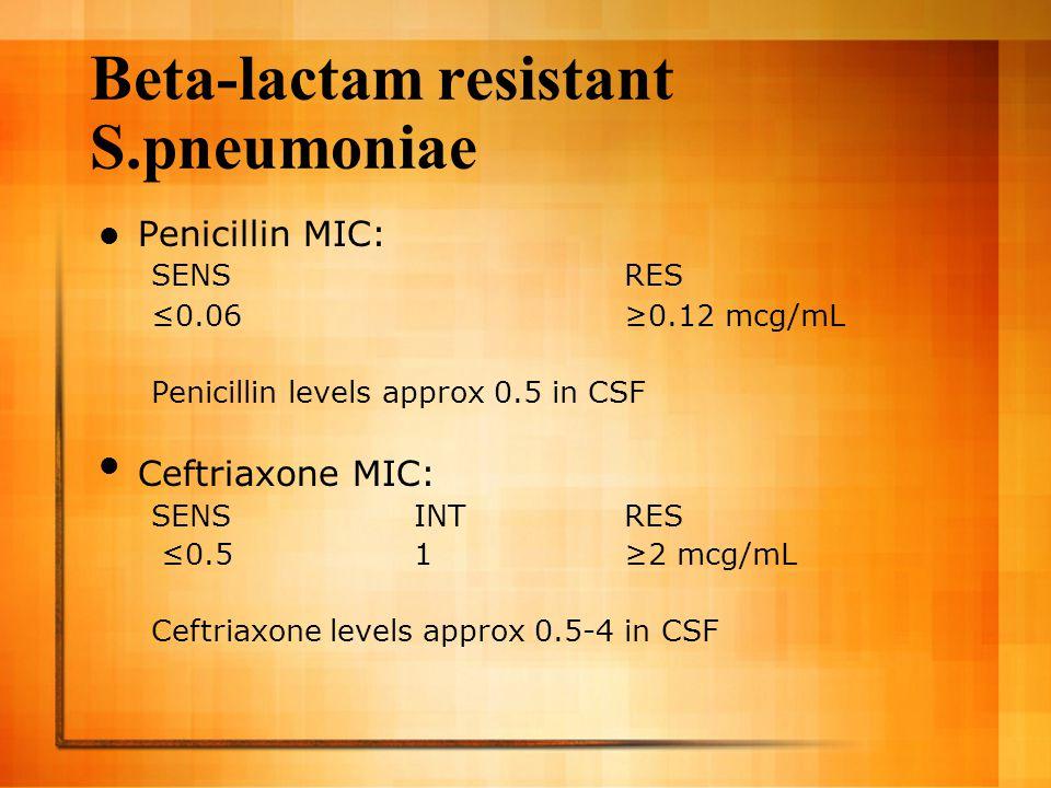Beta-lactam resistant S.pneumoniae Penicillin MIC: SENS RES ≤0.06 ≥0.12 mcg/mL Penicillin levels approx 0.5 in CSF Ceftriaxone MIC: SENSINTRES ≤0.51≥2 mcg/mL Ceftriaxone levels approx 0.5-4 in CSF