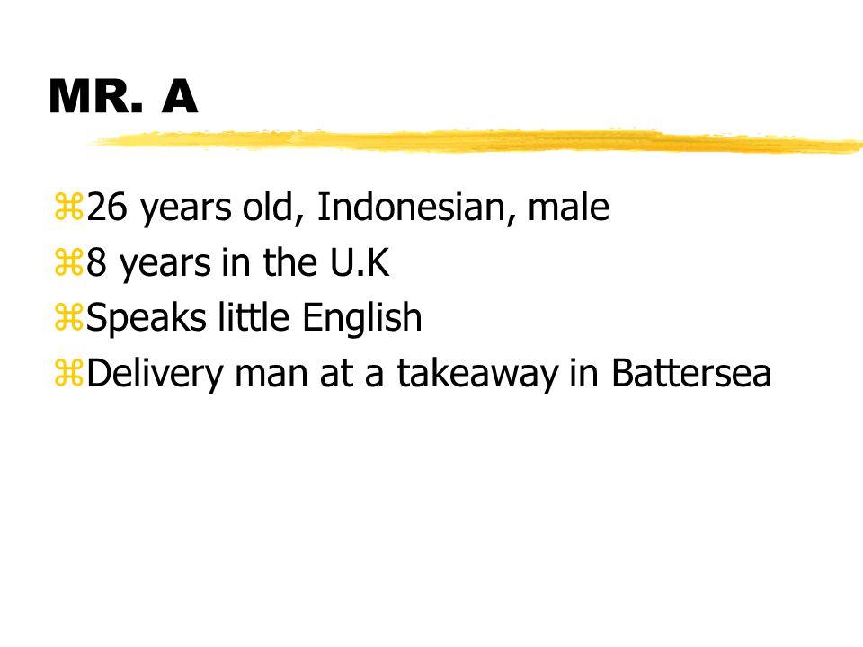 MR. A z26 years old, Indonesian, male z8 years in the U.K zSpeaks little English zDelivery man at a takeaway in Battersea